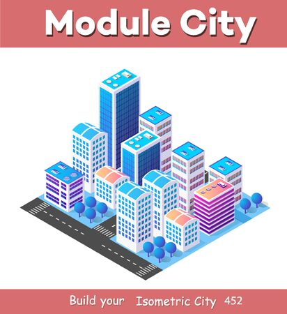 Isometric 3d module block district part of the city with a street road from the urban infrastructure of vector architecture. Modern white illustration for game design Illusztráció