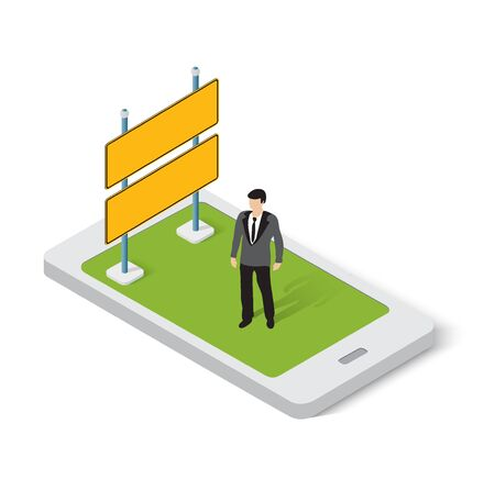 Mobile application for online ads and internet signs Illustration