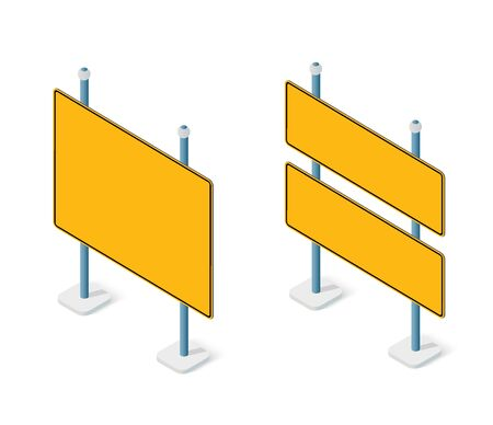 Road signs isometric set street object for highway Illustration