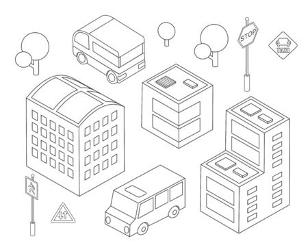 Isometric set bus urban infrastructure cars and buses transport houses and buildings sketch black and white Zdjęcie Seryjne - 132553065