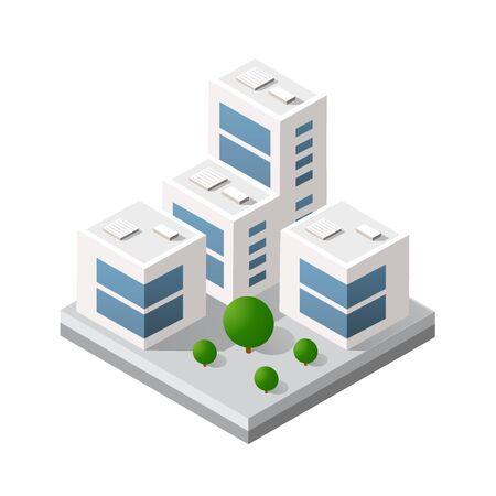 Isometric 3d module block Illusztráció