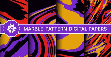 Abstract marble pattern set of backgrounds and backdrops for business cards, invitations, presentations, and printing Illustration