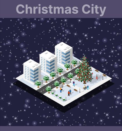 Winter Christmas landscape snow covered the futuristic isometric city from buildings and street constructions business technology, digital modern concept background holiday Illustration