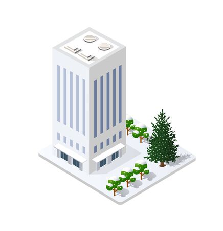 Winter Christmas landscape snow covered the futuristic isometric city from smart business technology, digital modern concept background holiday