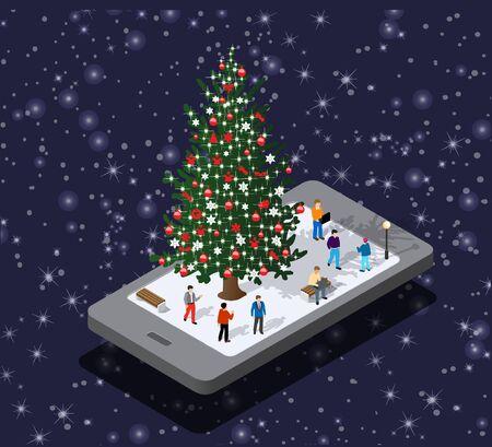 Phone concept of winter holiday module block city fir tree