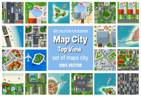 A set of maps top view of the city view from above with city houses, beaches and sea, plane and tourist islands. Stock concept illustration.