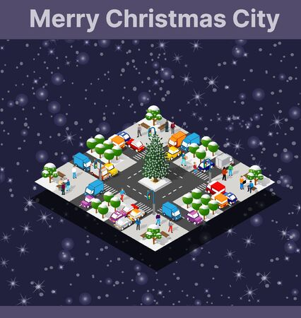Winter Christmas tree, New Year is an isometric city with streets, roads, and transport