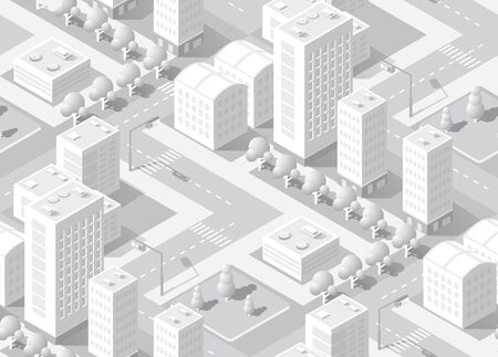 Urban isometric seamless background area with building trees lawns and streets. Seamless urban repeating pattern for design and creativity concept