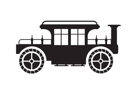 Old vintage car silhouette retro illustration stock drawing