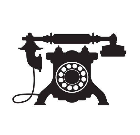 Retro phone vintage old technique silhouette illustration Ilustracja