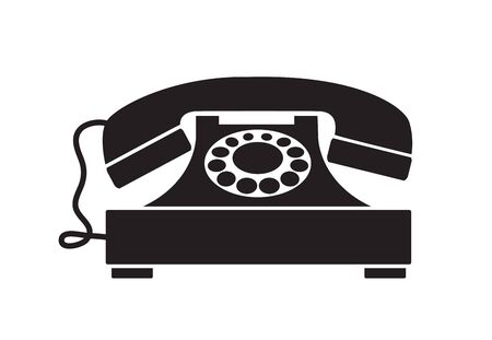 Retro phone vintage old technique silhouette illustration