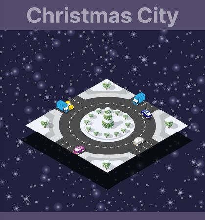 Winter Christmas landscape snow covered the futuristic isometric city from street constructions business technology, digital modern concept background holiday