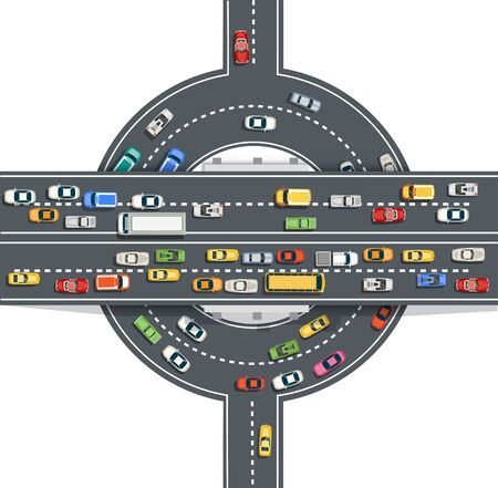 Road top view with highways many different vehicles. Map of cars traffic jam and urban transport. City infrastructure with transportation design elements