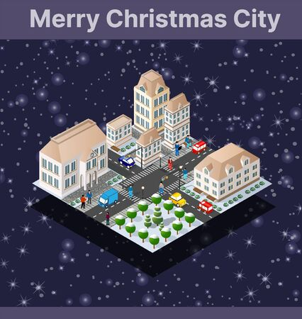 Winter Christmas landscape snow covered the futuristic isometric city from buildings and street constructions business technology, digital modern concept background holiday Ilustracja