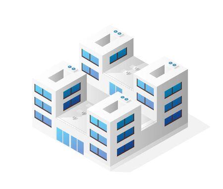 Isometric house building skyscraper concept illustration urban infrastructure for web games applications Ilustração