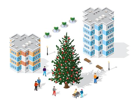 Winter Christmas set landscape snow covered the futuristic isometric city from buildings and street constructions business technology, digital modern concept background holiday