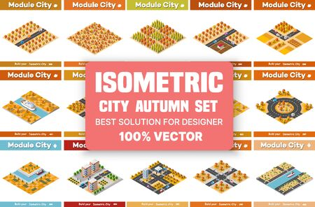 Isometric set of blocks module of areas of the autumn city construction and designing of the perspective city of design of the urban environment Ilustração Vetorial