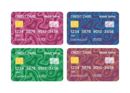 Credit cards set multicolor template vector with abstract triangle geometric design background with patterns background. Conceptual business illustration with clipping mask
