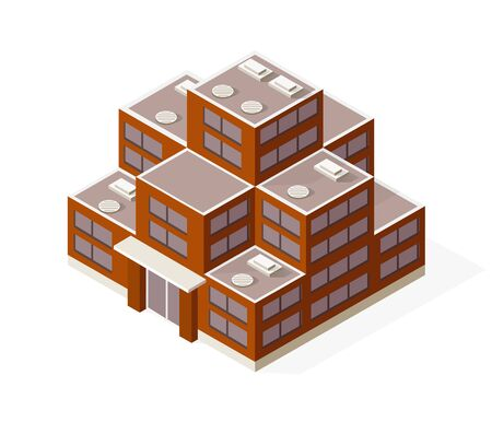 Isometric house building skyscraper concept illustration urban infrastructure for web games applications Illustration