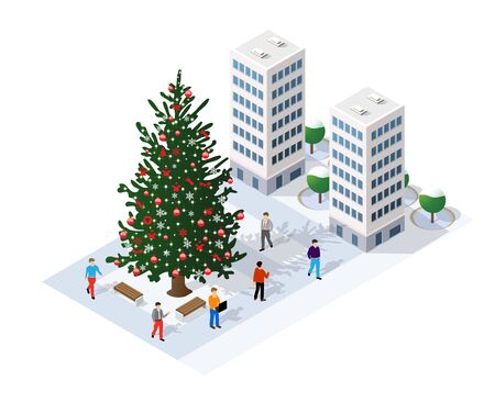 Winter Christmas landscape snow covered the futuristic isometric city from buildings and street constructions business technology, digital modern concept background holiday