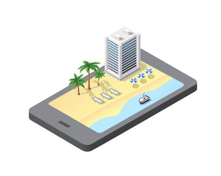 Telefonkonzept des Reisestrandhotelmodulblocks Stadt städtisches Stadtbild von Bausatzelementen Straßenlandschaftsarchitekturillustration