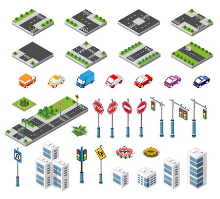 Isometric set building houses icons of blocks module of areas of the city construction, and designing of the perspective urban of design of the architecture environment