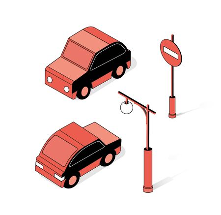 The isometric semaphore streetlight set with traffic signs and cars Çizim