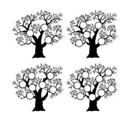 The family tree genealogical silhouette is a template for home household history creativity and domestic albums of photos and homework creativity. 版權商用圖片 - 145830712
