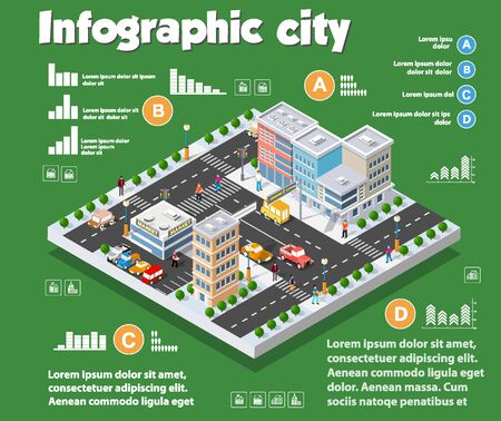 Isometric city map industry infographic set, with transport, architecture, graphic design elements. Urban information concept template with statistical icons, charts, diagrams