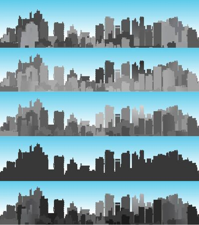Banner city set landscape of silhouettes of buildings and houses against the backdrop of a color sky