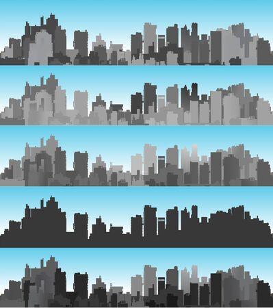 La ville de bannière a placé le paysage des silhouettes des bâtiments et des maisons dans le contexte d'un ciel de couleur