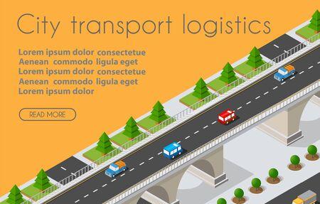 Transport Logistics 3D Isometric City illustrated
