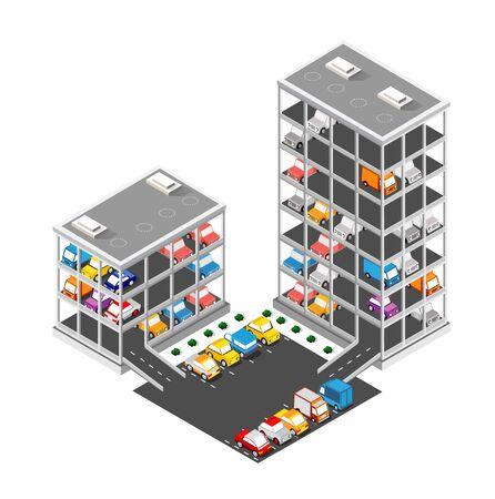 Traffic transport city multi-story parking carpark garage Иллюстрация