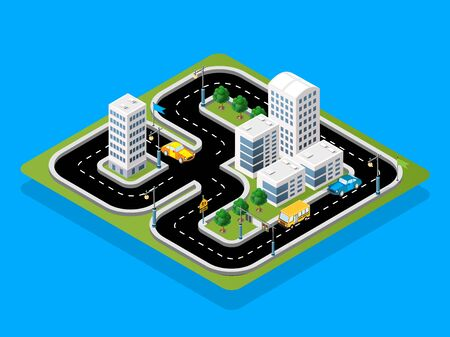 Isometric 3D illustration Track racing with cars