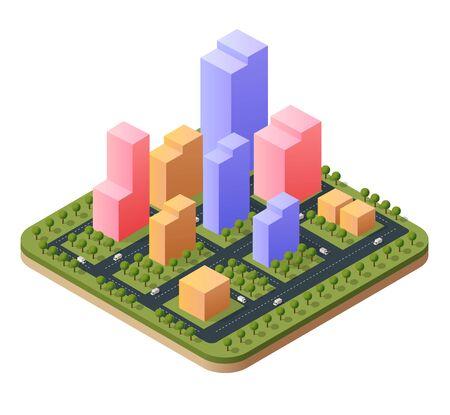 3D illustration isometric city landscape of skyscrapers Illustration