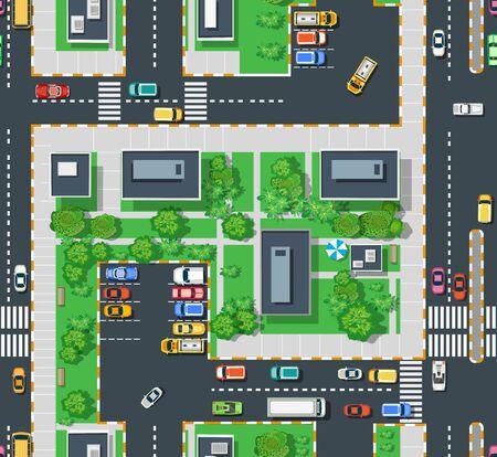 Zone urbaine de vue de dessus avec des pelouses d'arbres