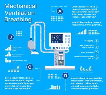 Medical mechanical ventilation machine for equipment device Vector Illustration