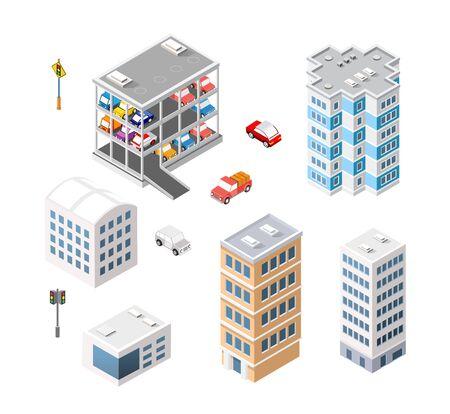 Traffic transport city multi-story parking carpark garage Illustration