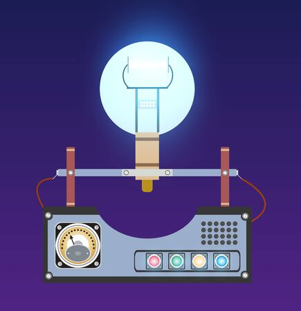 Retro illustration light bulbs sign environmental machine Standard-Bild - 147076223