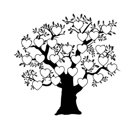 The family tree genealogical silhouette Vectores