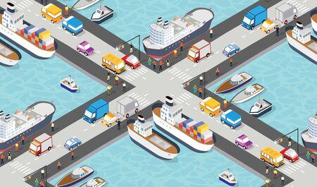 Seamless industrial city map pattern. Isometric port mooring Illustration