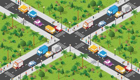 Isometric Seamless repeating walking people 3d illustration Illustration