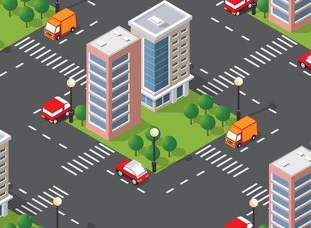 Seamless urban plan pattern map. Isometric landscape