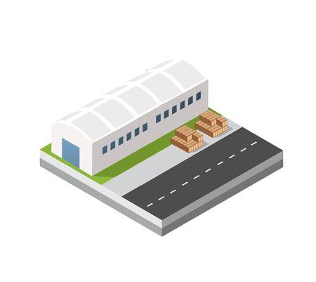 Isometric 3D city module industrial urban factory