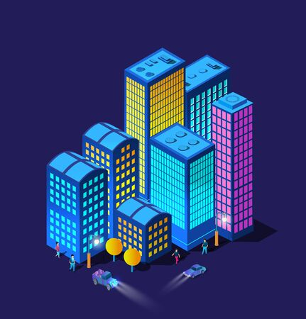 The night smart city cars headlights 3D future neon ultraviolet set of urban infrastructure isometric buildings. Conceptual residential town illustration of vector design graphics.
