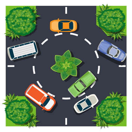 The car intersection top view is a map of the city with town infrastructure, roads, trees, parks, and gardens. The design of the object is a vector illustration for games, apps, and scenery.