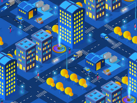 The night industrial home smart city 3D future neon ultraviolet module of urban infrastructure isometric buildings. Conceptual seamless background town illustration of vector design graphics.