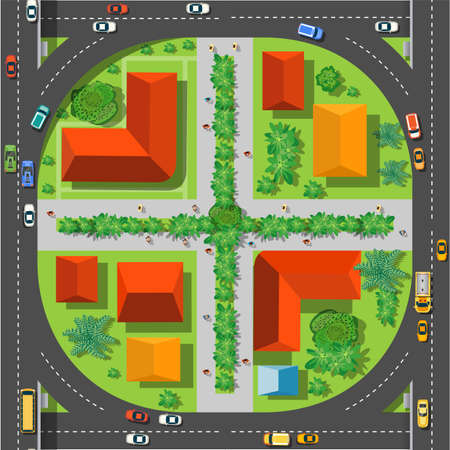 The top view is a map of the city district module block with town infrastructure