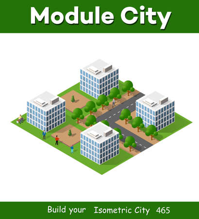 3D isometric city landscape of houses, gardens and streets