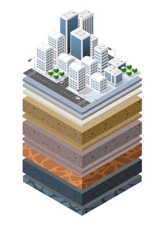 Soil Layers cross section geological of urban environment 向量圖像